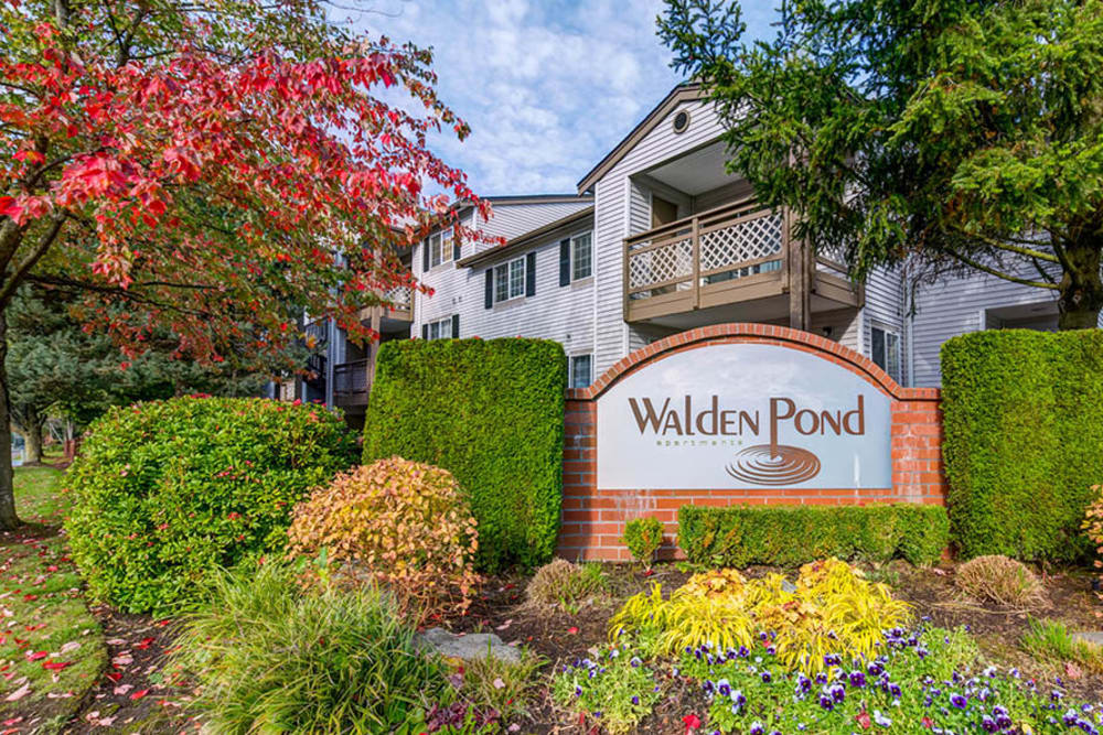 Landscaped signage at Walden Pond Apartments in Everett, Washington
