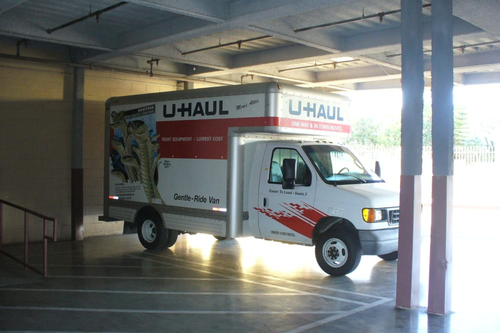 A U-Haul truck at One Stop Storage