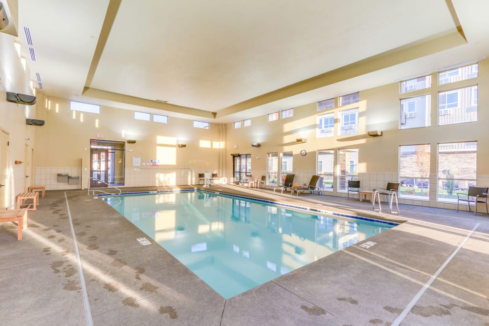 A indoor swimming pool that is great for entertaining at Affinity at Southridge in Kennewick, WA