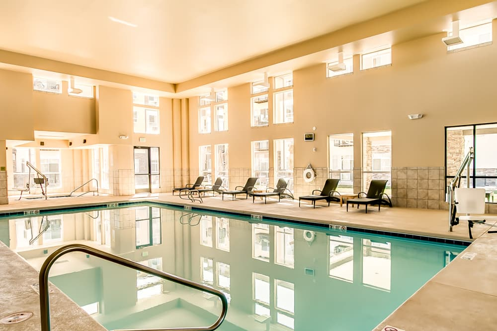 Indoor saltwater pool at Affinity at Albuquerque