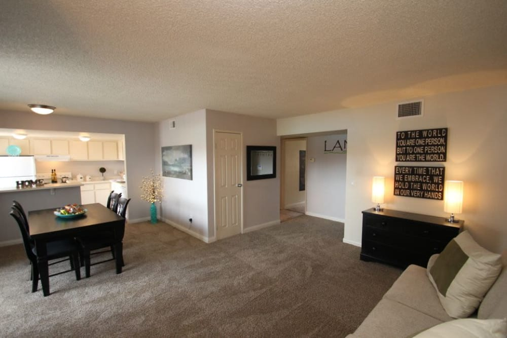 A model living room at Lantana Apartments