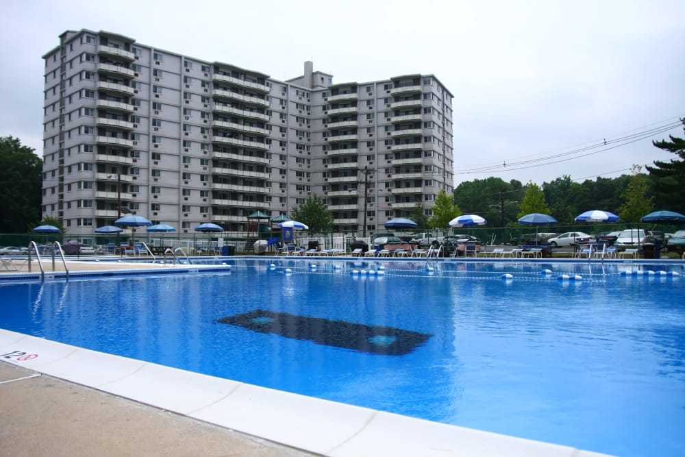 Haddonview Apartments offers a large pool and is located in Haddon Township, New Jersey