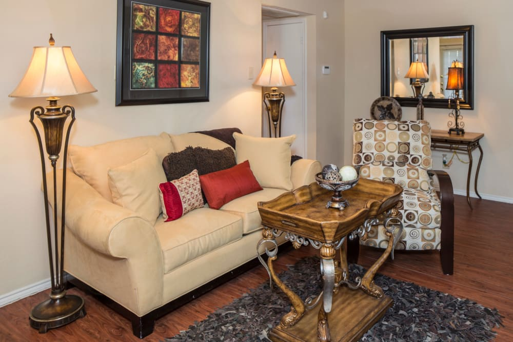 Our apartments in Arlington, TX showcase a beautiful living room