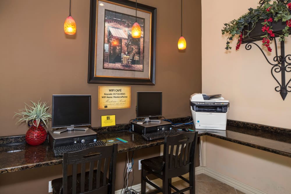 Monterra Pointe offers a business center in Arlington, TX