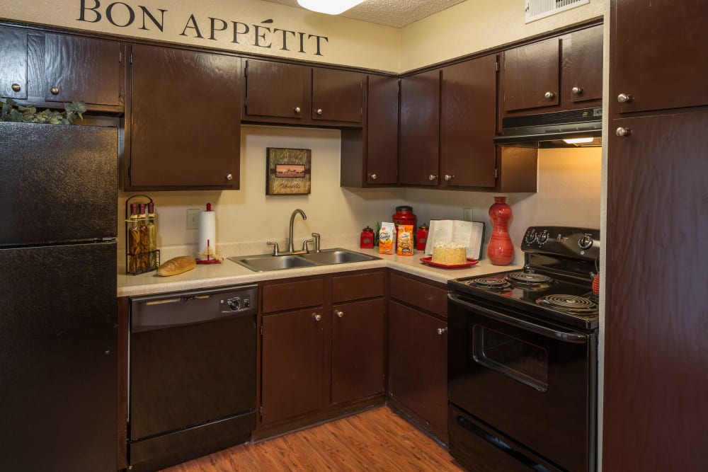 Our apartments in Arlington, TX showcase a beautiful kitchen