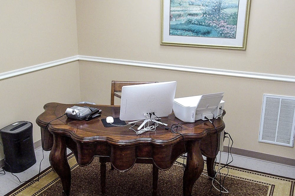 Desk inside of the office at America's Mini-Storage and Office Complex in Port St. Joe