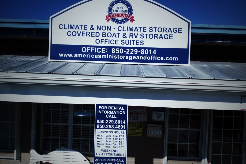 Close up of sign at America's Mini-Storage and Office Complex in Port St. Joe