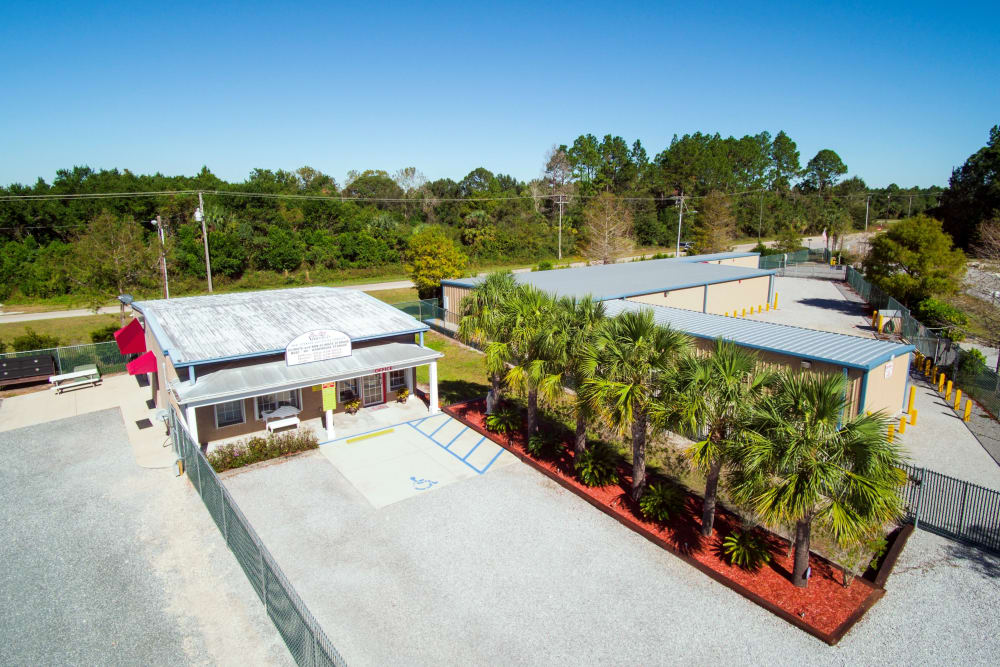 Aerial view of the office and building D at America's Mini-Storage and Office Complex in Port St. Joe, Florida