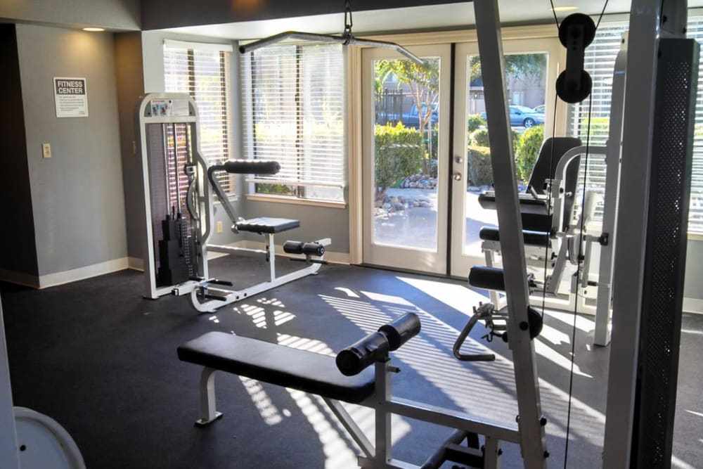 Well-equipped fitness center at Waterfield Square Apartment Homes