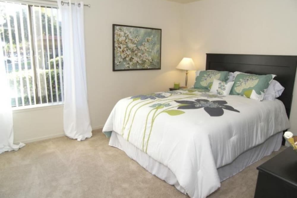 Large master bedroom with plenty of natural light at Waterfield Square Apartment Homes