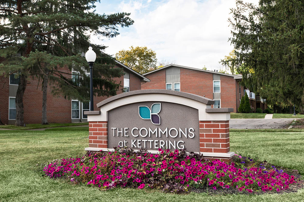 Entrance signage at The Commons at Kettering in Kettering