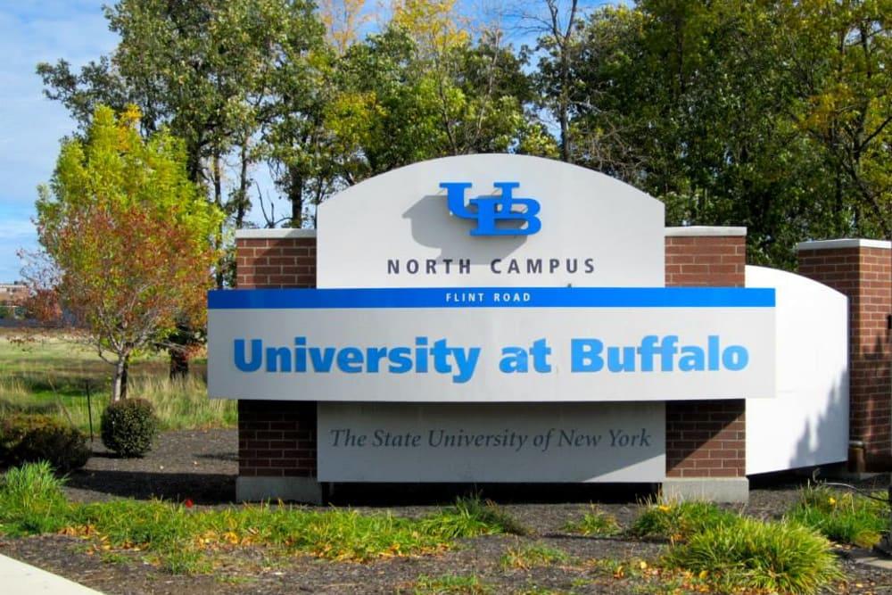 University of Buffalo sign near Triad Apartments