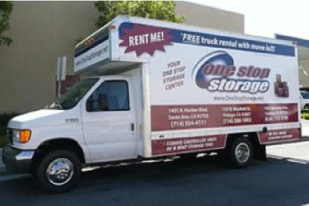 Moving truck at One Stop Storage in Orange, CA