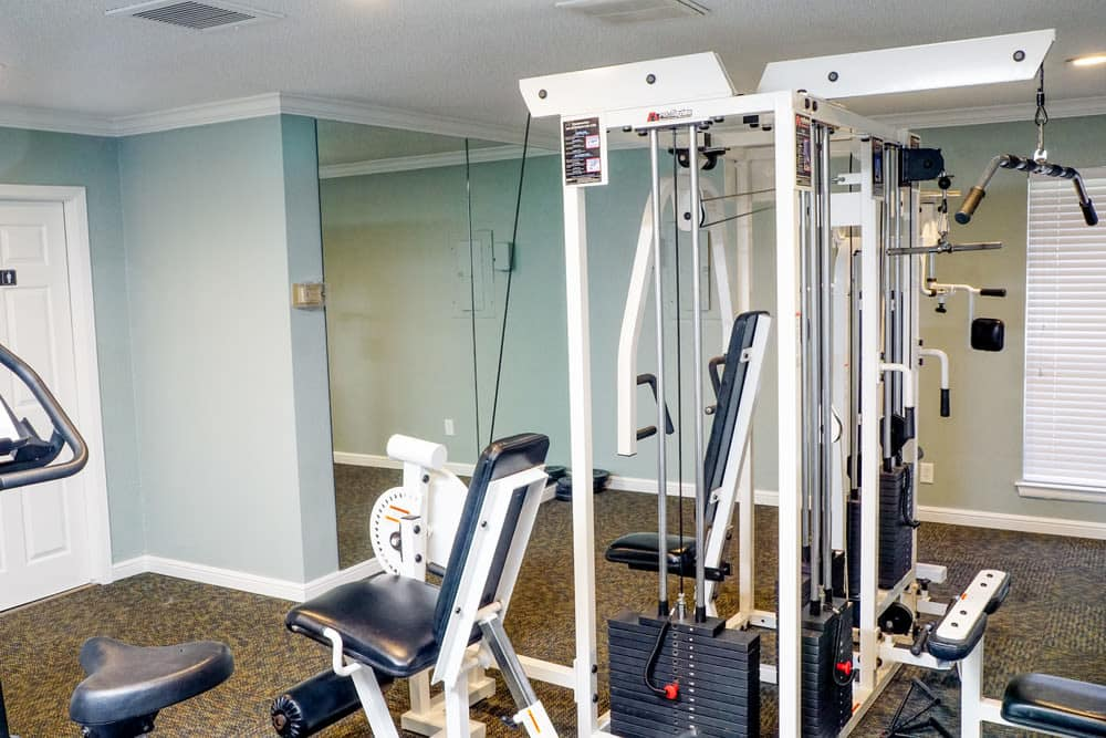 A view of the fitness center at The Abbey at Medical Center