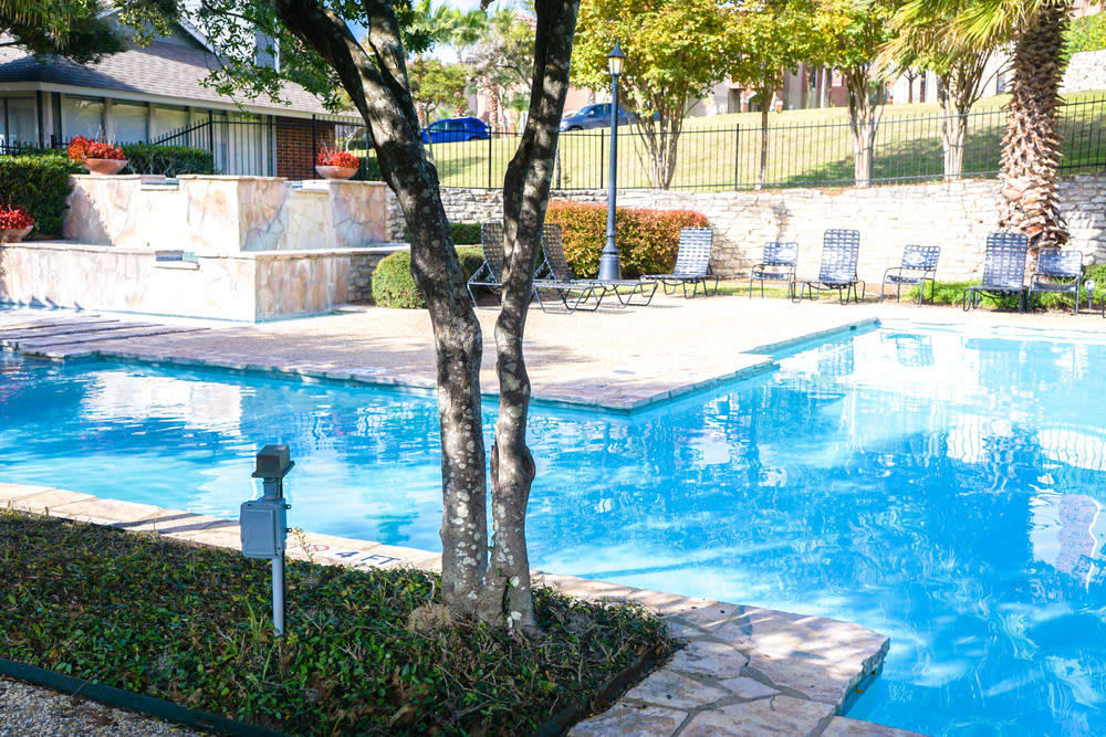 A view of the swimming pool at The Abbey at Medical Center in San Antonio