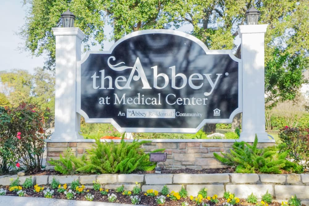 Entry sign to The Abbey at Medical Center in San Antonio