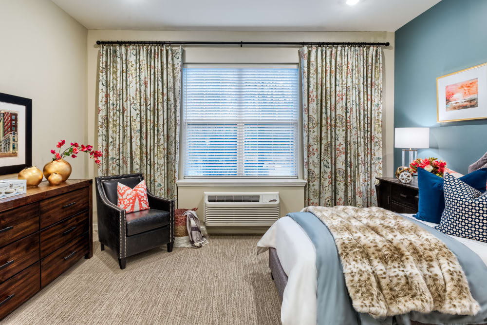 Bright bedroom at Stonecrest of Meridian Hills in Indianapolis