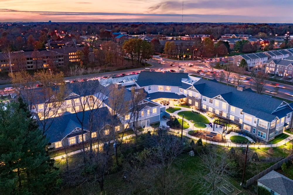 Aerial shot of Stonecrest of Meridian Hills in Indianapolis