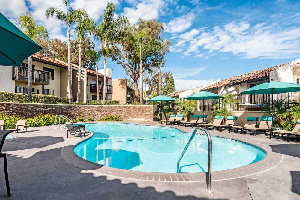 Luxury swimming pool at Vue Oceanside in Oceanside, California