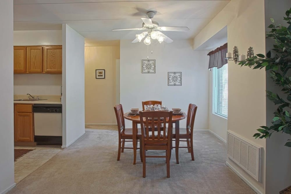 Model home dining area at Parkway Apartments