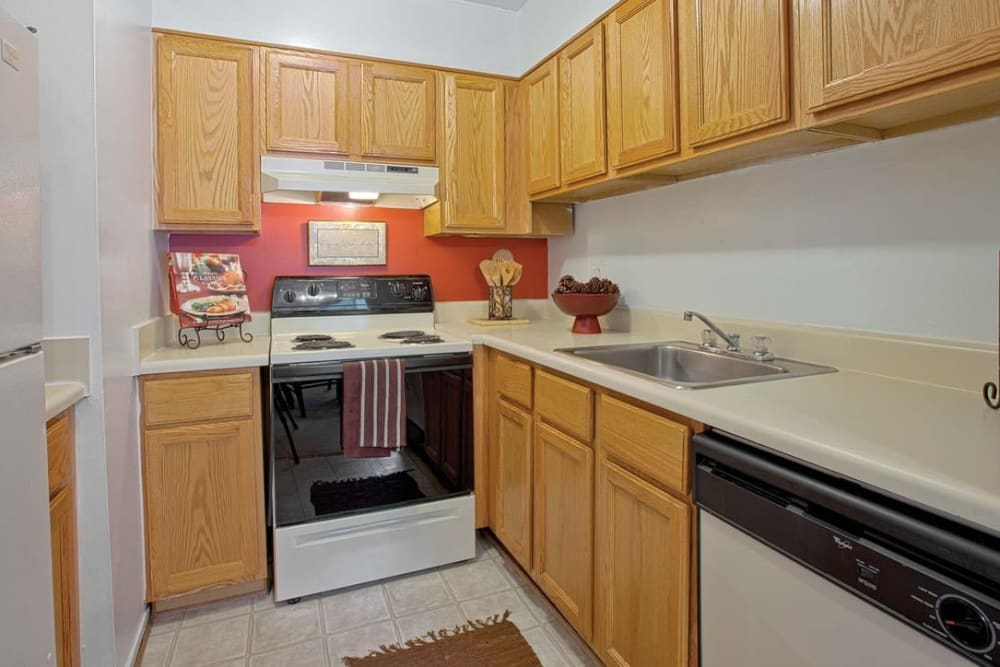 Well-equipped and modern kitchen in model home at Parkway Apartments in Williamsburg