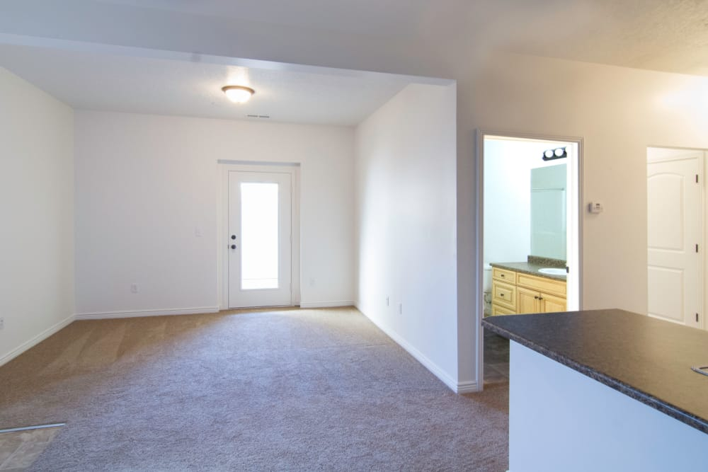 Well-lit living room at Ridgeview Apartments
