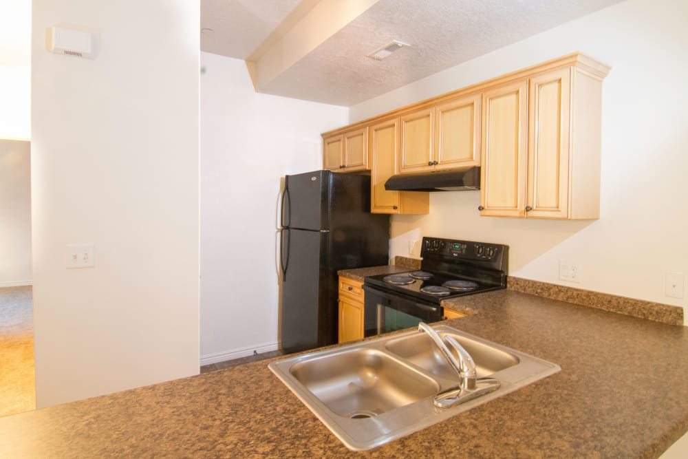 Well-lit kitchen at Ridgeview Apartments