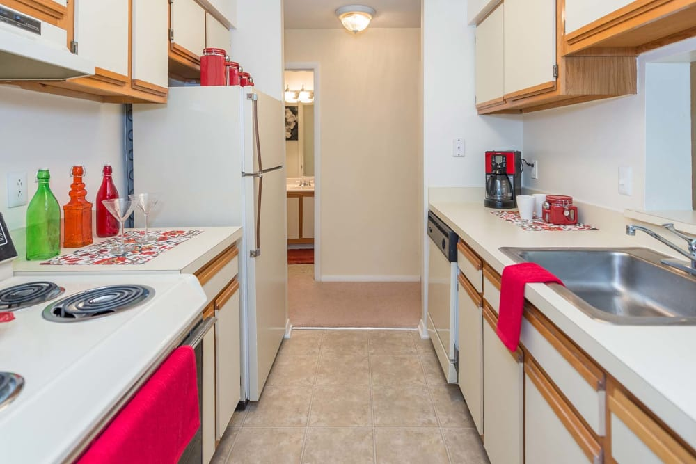 A look at the kitchen inside apartments at Reflections at Virginia Beach