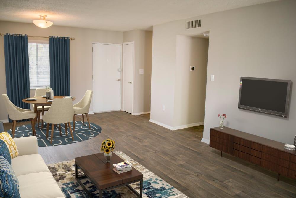 Cozy living room at apartments in Dunedin, Florida