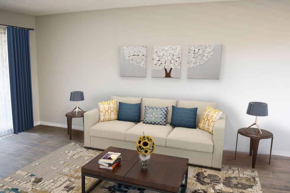 Enjoy a living room at Promenade at Edgewater spacious apartments