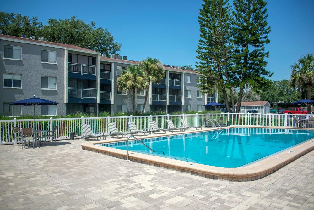 Modern swimming pool at Promenade at Edgewater in Dunedin, Florida