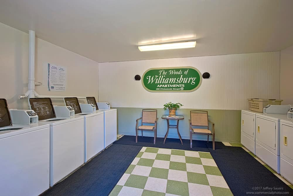 On-site laundry facilities at Woods of Williamsburg Apartments