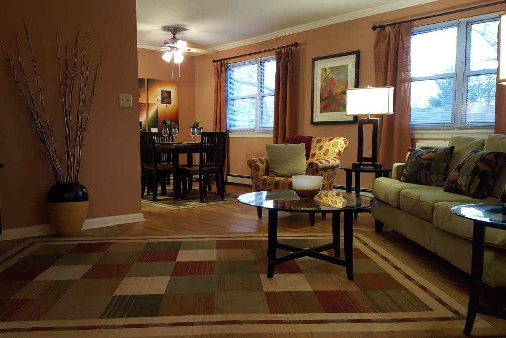 Spacious and lively model home living room at Wingate Apartments