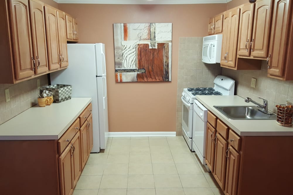 Bright and roomy kitchen in model home at Wingate Apartments