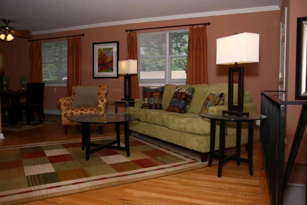 Spacious living room in model home at Wingate Apartments