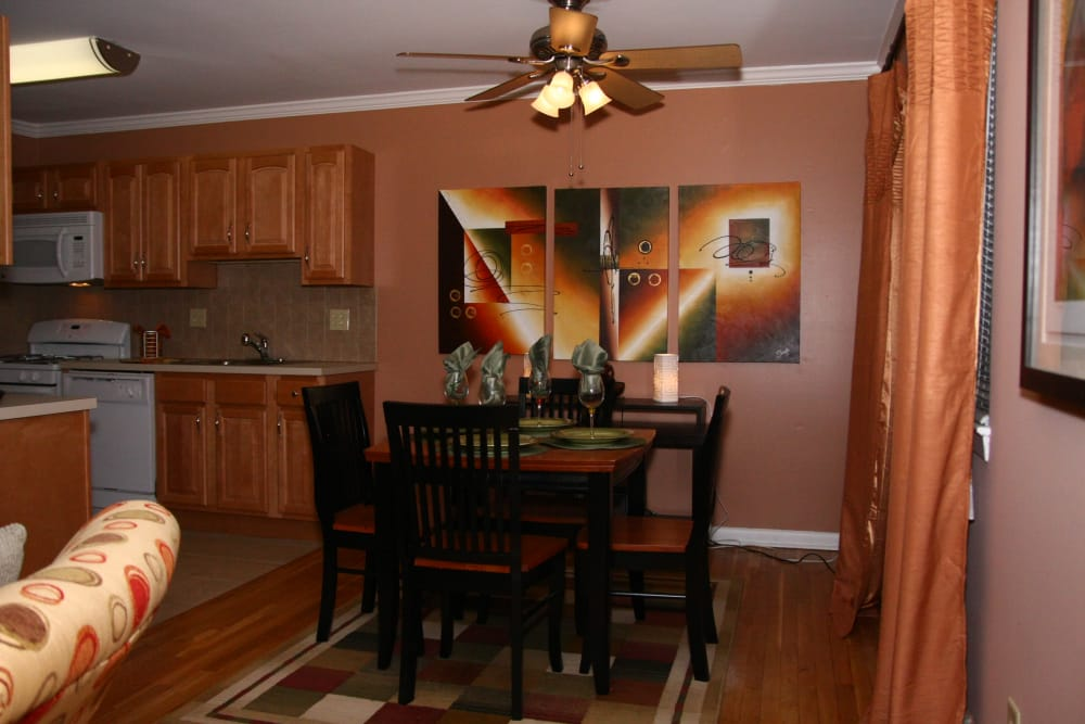 Another view of the dining area in model home at Wingate Apartments