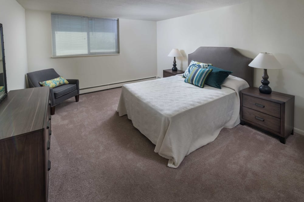 Model bedroom at Haddonview Apartments