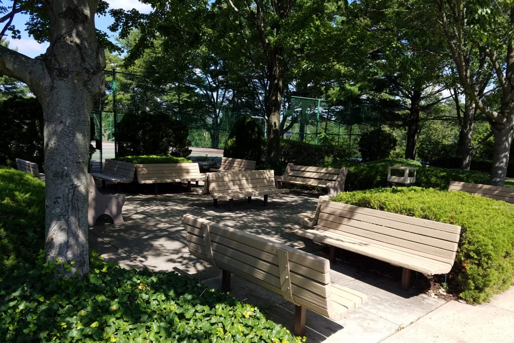 Outdoor seating at Haddonview Apartments