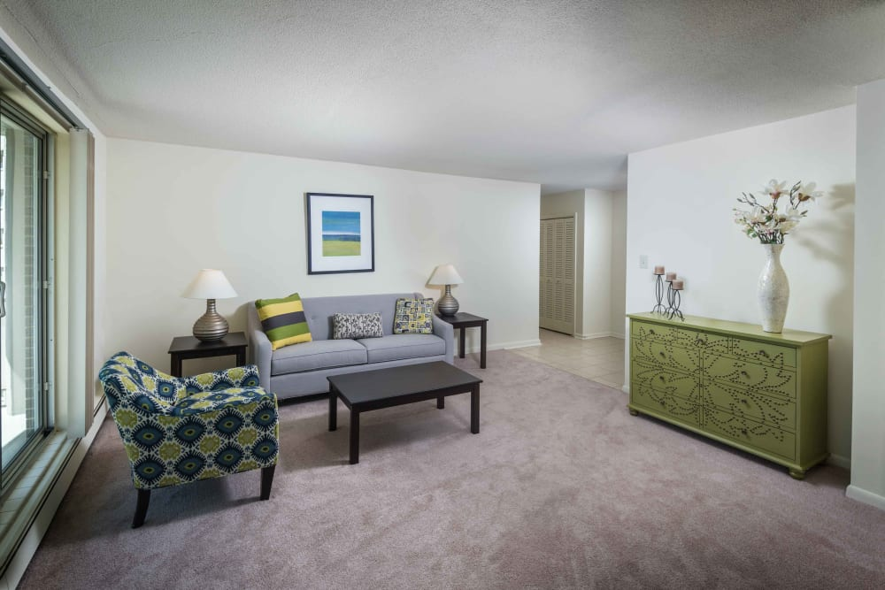 A model bedroom at Haddonview Apartments