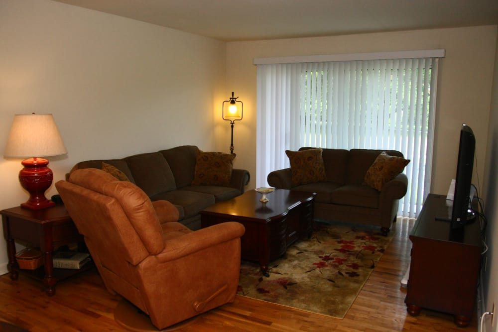 hardwood flooring at model living room at The Heights at Spring Lake in Spring Lake, New Jersey
