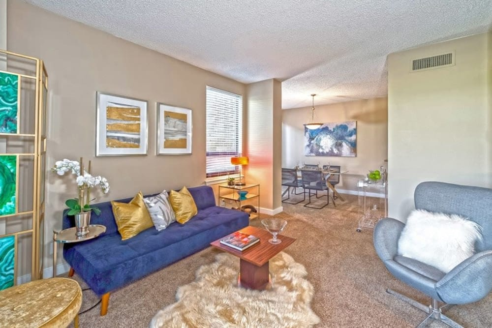 Inviting living room at The Enclave at 1550 Apartments
