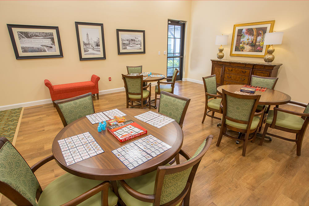 Resident game room at Symphony at St. Augustine in St Augustine, Florida.