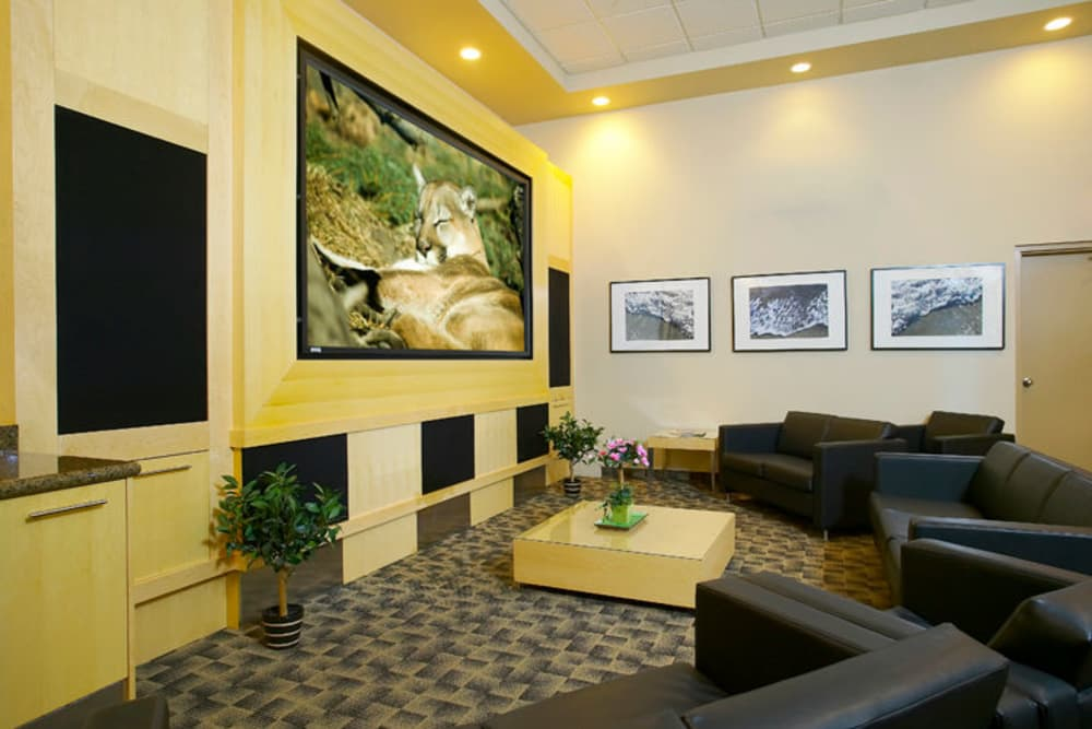 Modern tv room at apartments in Calgary, Alberta