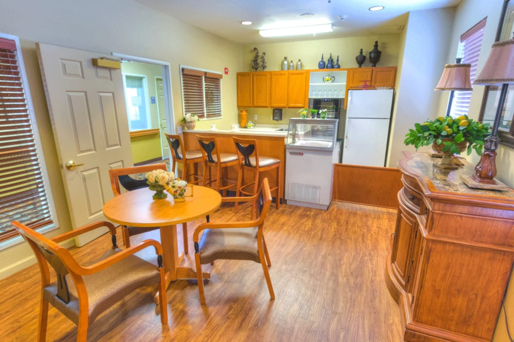 Enjoy snacks and meals on your time, in the Bistro at The Meadows - Assisted Living