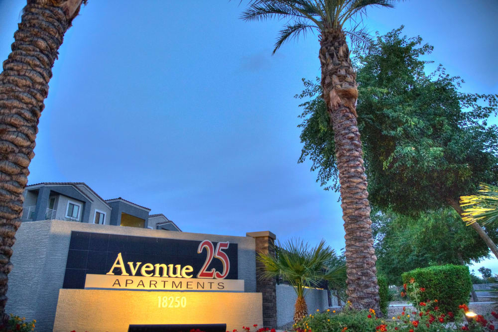 Front sign at Avenue 25 Apartments