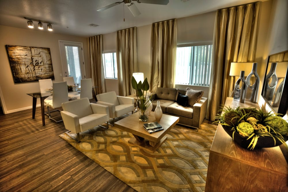 Well lit living area at Avenue 25 Apartments