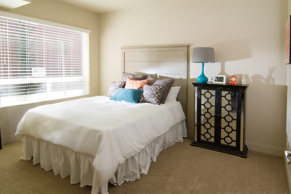 Model bedroom at 644 City Station in Salt Lake City, Utah
