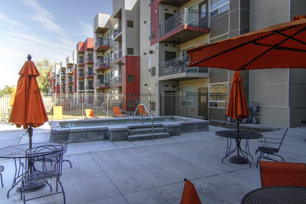 Patio area outside of 644 City Station in Salt Lake City