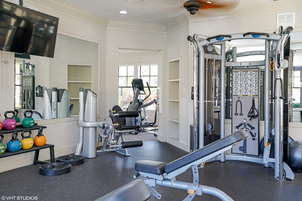 Fully-equipped fitness center at Verandahs of Brighton Bay