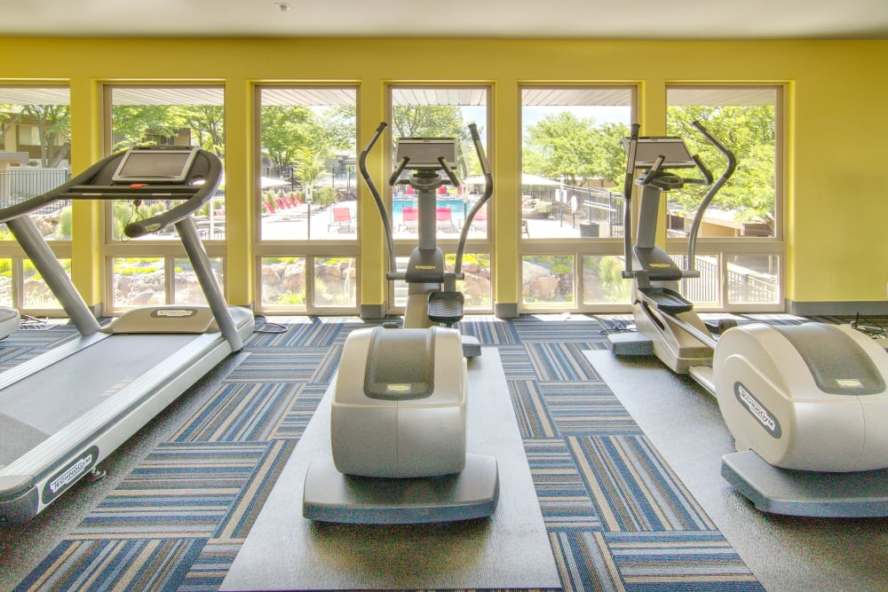 Fitness center featuring treadmills at Sandpiper Apartments in Holladay, Utah